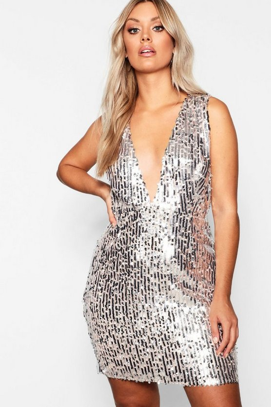 Plus Plunge Sequin Bodycon Dress