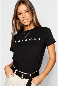 Womens Black Petite Friends Licensed T-Shirt