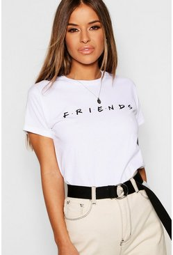 Womens White Petite Friends Licensed T-Shirt