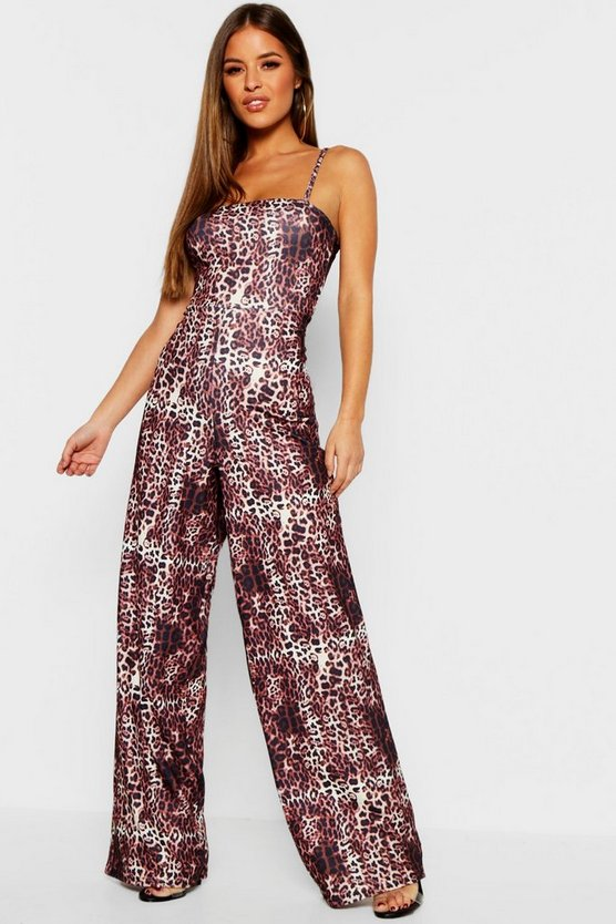Womens Brown Petite Leopard Print Square Neck Jumpsuit