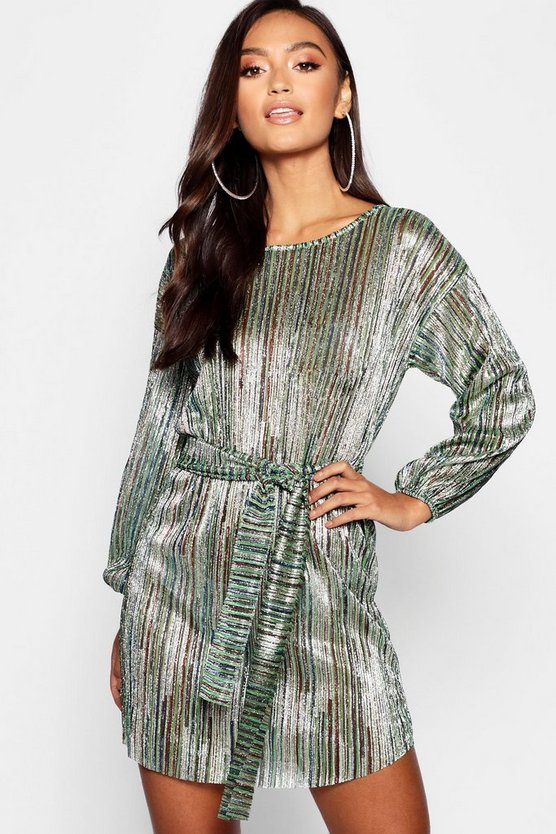 Petite Rainbow Metallic Tie Waist Shift Dress