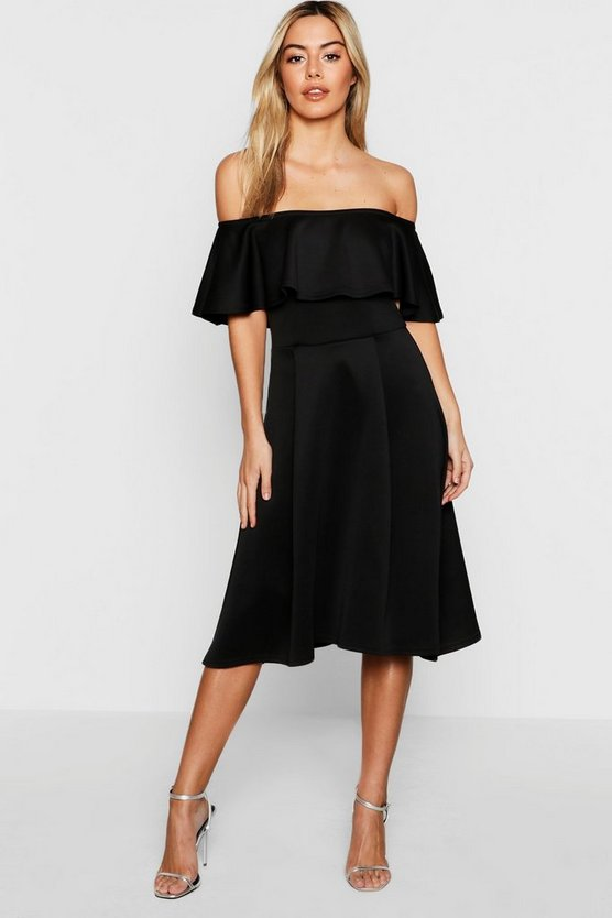 Petite Off The Shoulder Skater Midi Dress