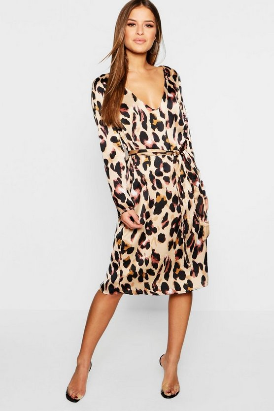 Womens Bronze Petite Satin Wrap Tie Leopard Print Dress