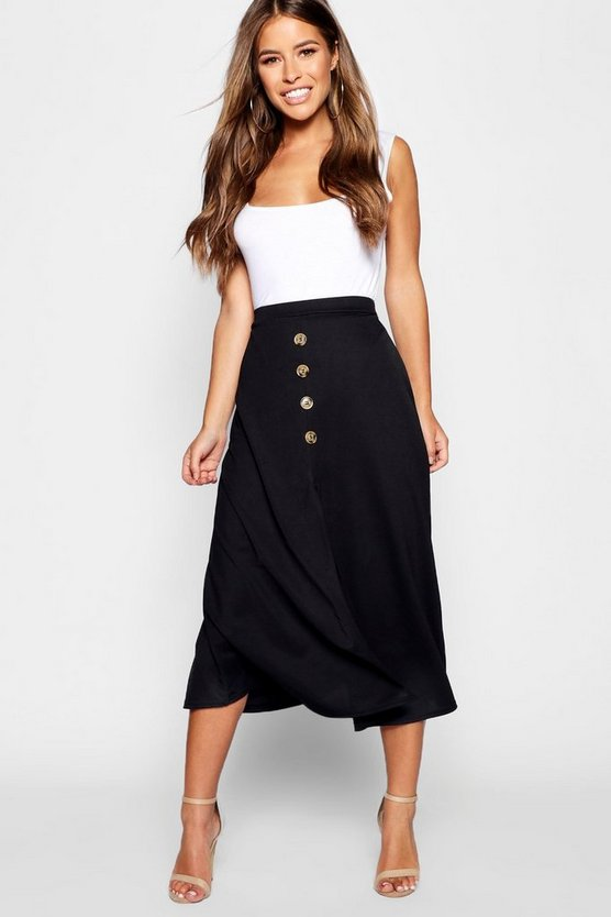 Womens Black Petite Mock Horn Button Through Midi Skirt