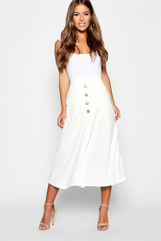 Petite Mock Horn Button Through Midi Skirt
