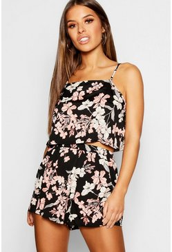 Womens Black Petite Floral Print PJ Cami & Short Set
