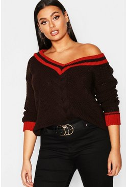 Womens Chocolate Plus Contrast Oversized Cable Knit Jumper