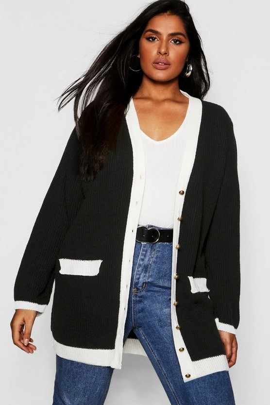 Plus Contrast Knit Gold Button Cardigan