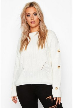 Womens Ivory Plus Horn Button Slouchy Jumper