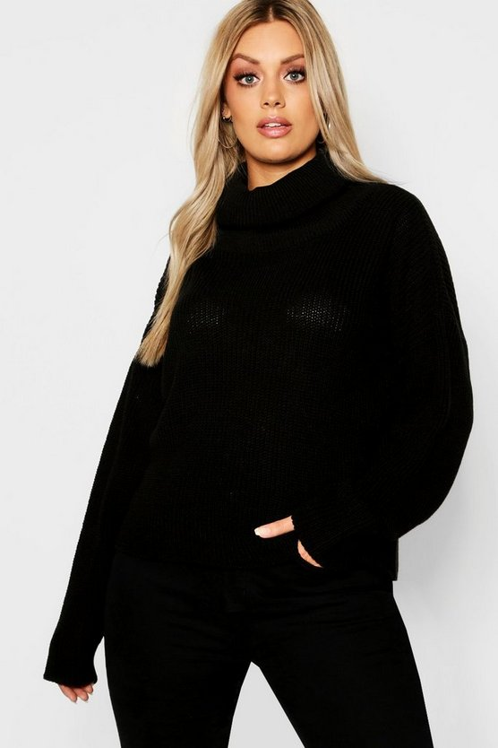 Black Plus Roll Neck Oversized Sweater