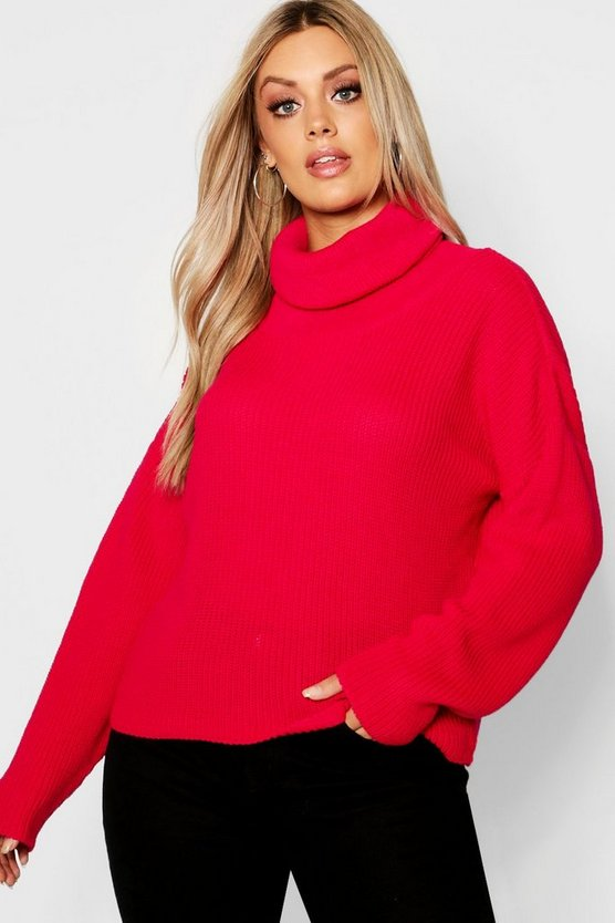 Plus Roll Neck Oversized Jumper