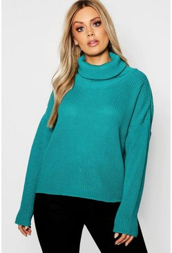 Womens Teal Plus Roll Neck Oversized Jumper