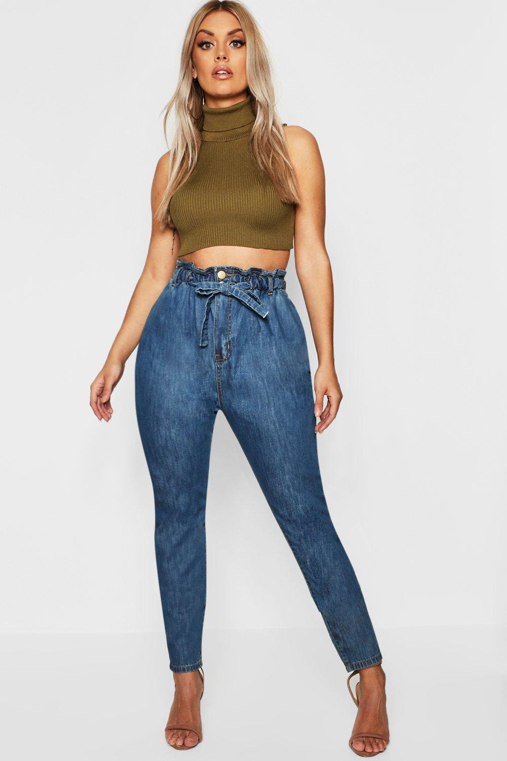 Plus Paperbag Waist Mom Jean