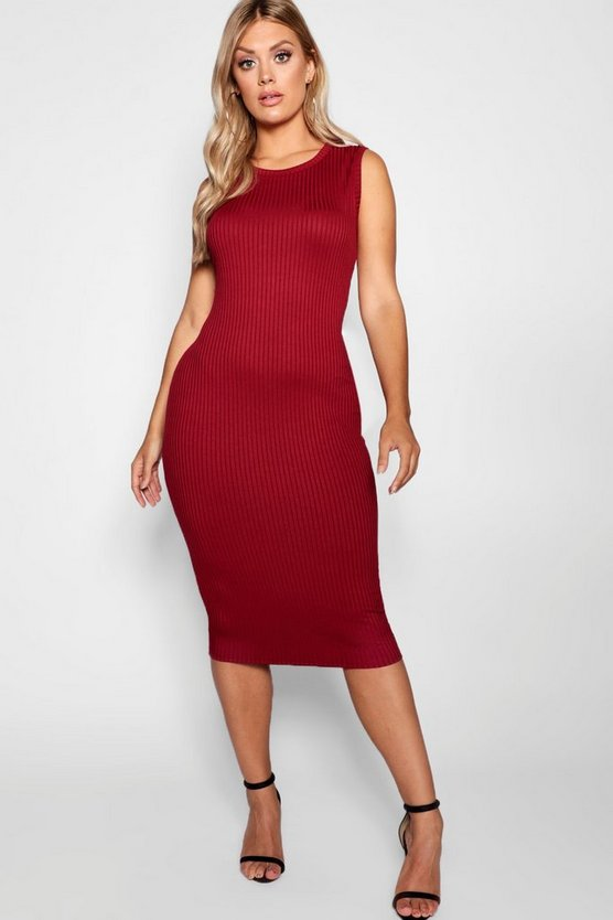 Womens Berry Plus Jumbo Rib Midi Dress