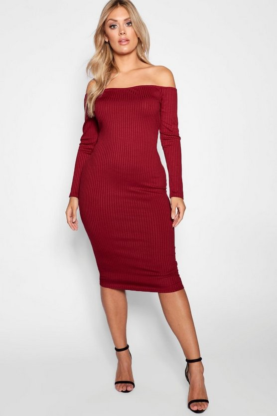 Womens Berry Plus Jumbo Rib Bardot Midi Dress