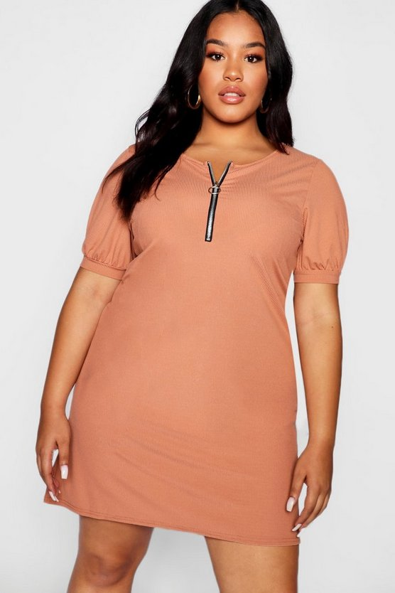 Womens Toffee Plus Ribbed Zip Front T-Shirt Dress