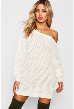 Cream Petite Waffle Knit Off The Shoulder Jumper Dress