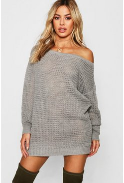 Grey Petite Waffle Knit Off The Shoulder Jumper Dress