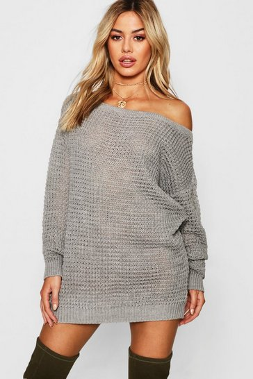 Womens Grey Petite Waffle Knit Off The Shoulder Jumper Dress