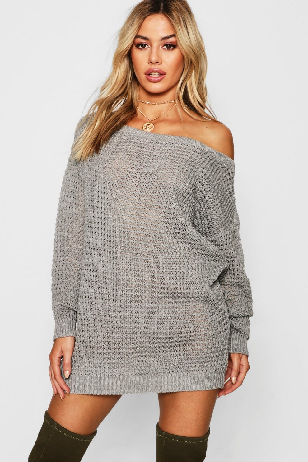 f55f191e2b4 Womens Grey Petite Waffle Knit Off The Shoulder Sweater Dress