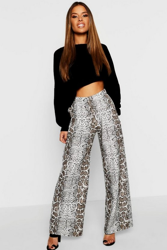 Womens Multi Petite Snake Print Wide Leg Trouser