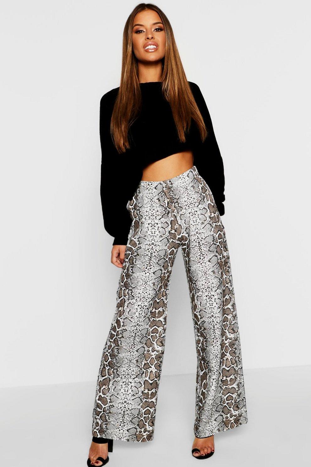 Pantaloni palazzo con stampa effetto pelle di serpente Petite  502e011d627a