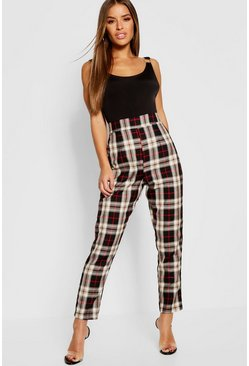Womens Black Petite Checked Tapered Pants