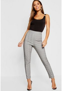 Grey Petite Check High Waist Skinny Trouser