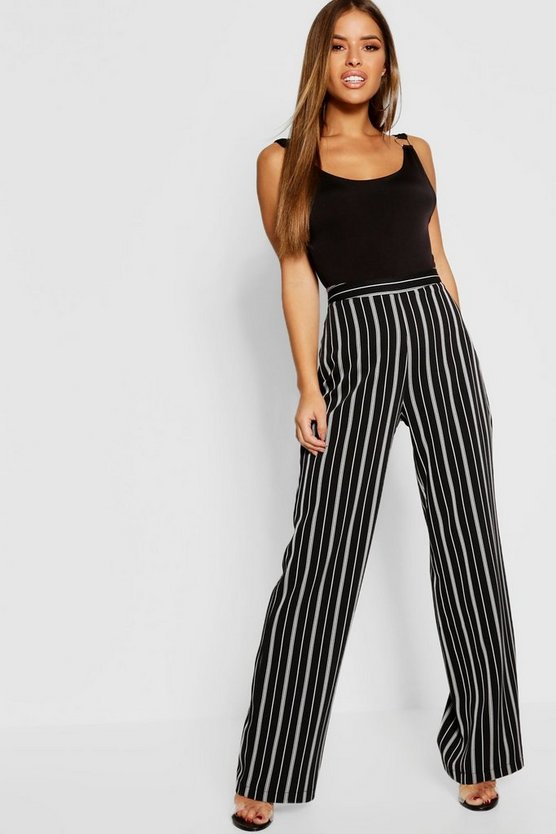 Black Petite Stripe High Waist Wide Leg Trouser