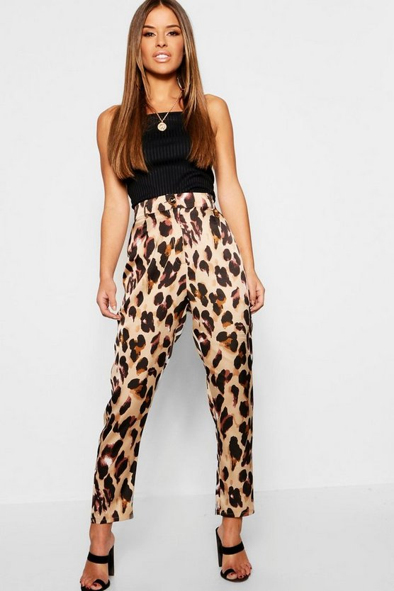 Petite Animal Print High Rise Tapered Pants