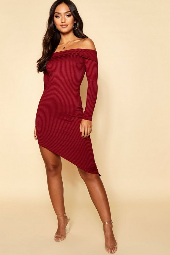 Petite Jumbo Rib Off The Shoulder Curve Hem Midi Dress