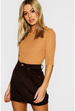 Womens Chocolate Petite Cord Mini Skirt