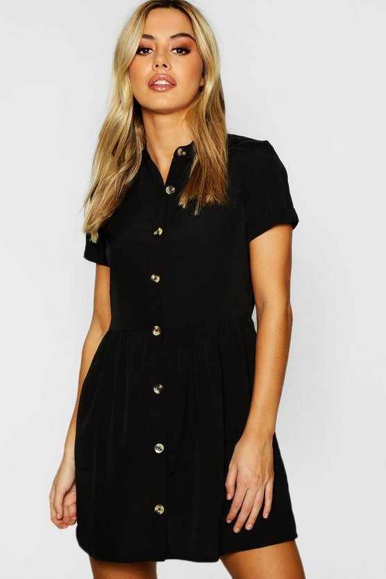 Womens Black Petite Button Front Smock Dress