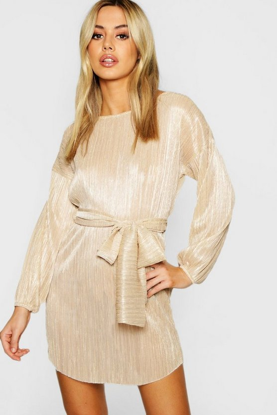 Petite Metallic Oversized Kleid