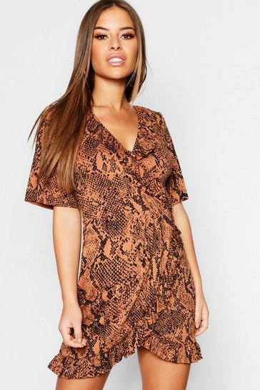 Womens Petite Tan Snake Print Tea Dress