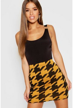 Womens Mustard Petite Dogtooth Bodycon Mini Skirt