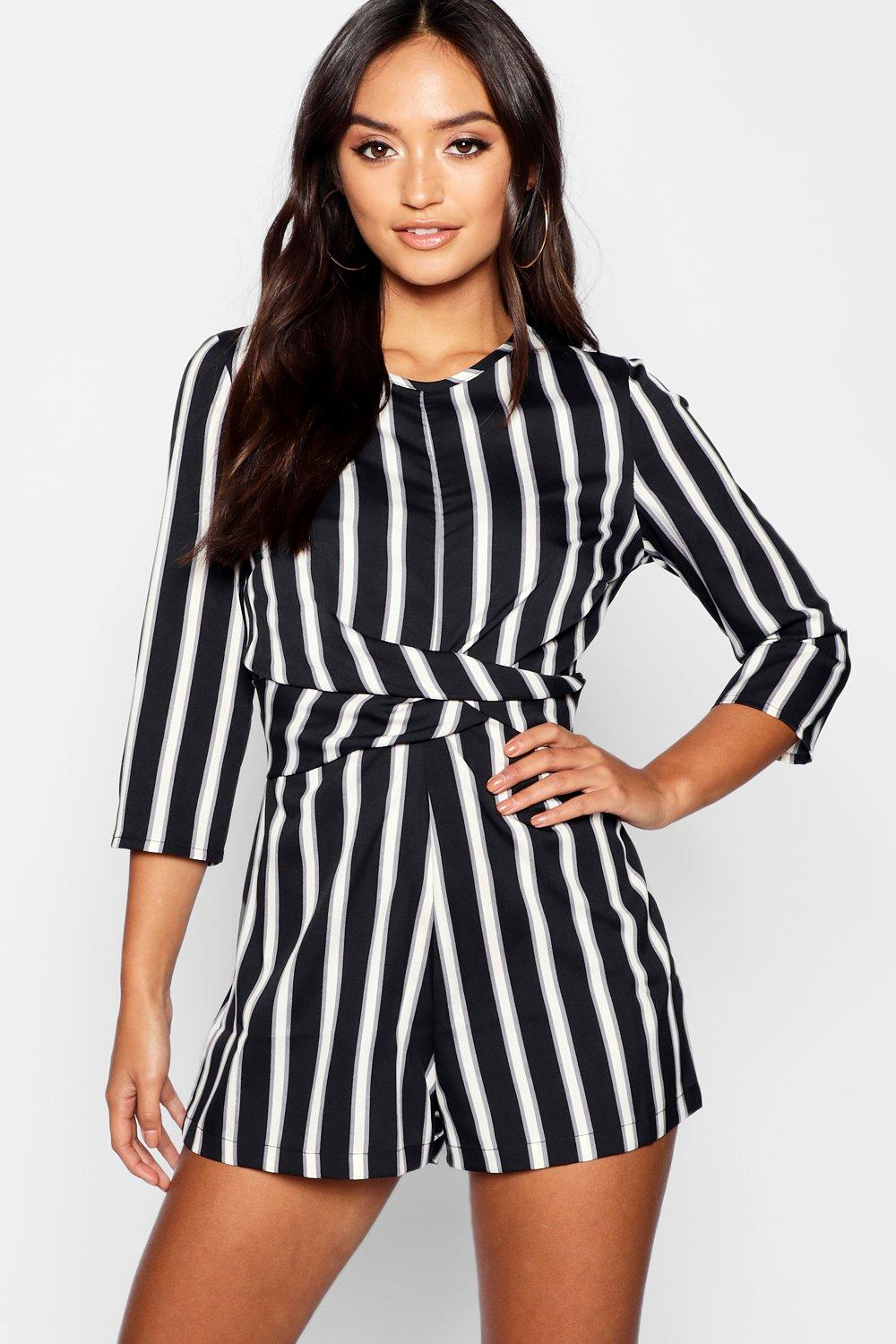 Petite Stripped Twist Front Playsuit