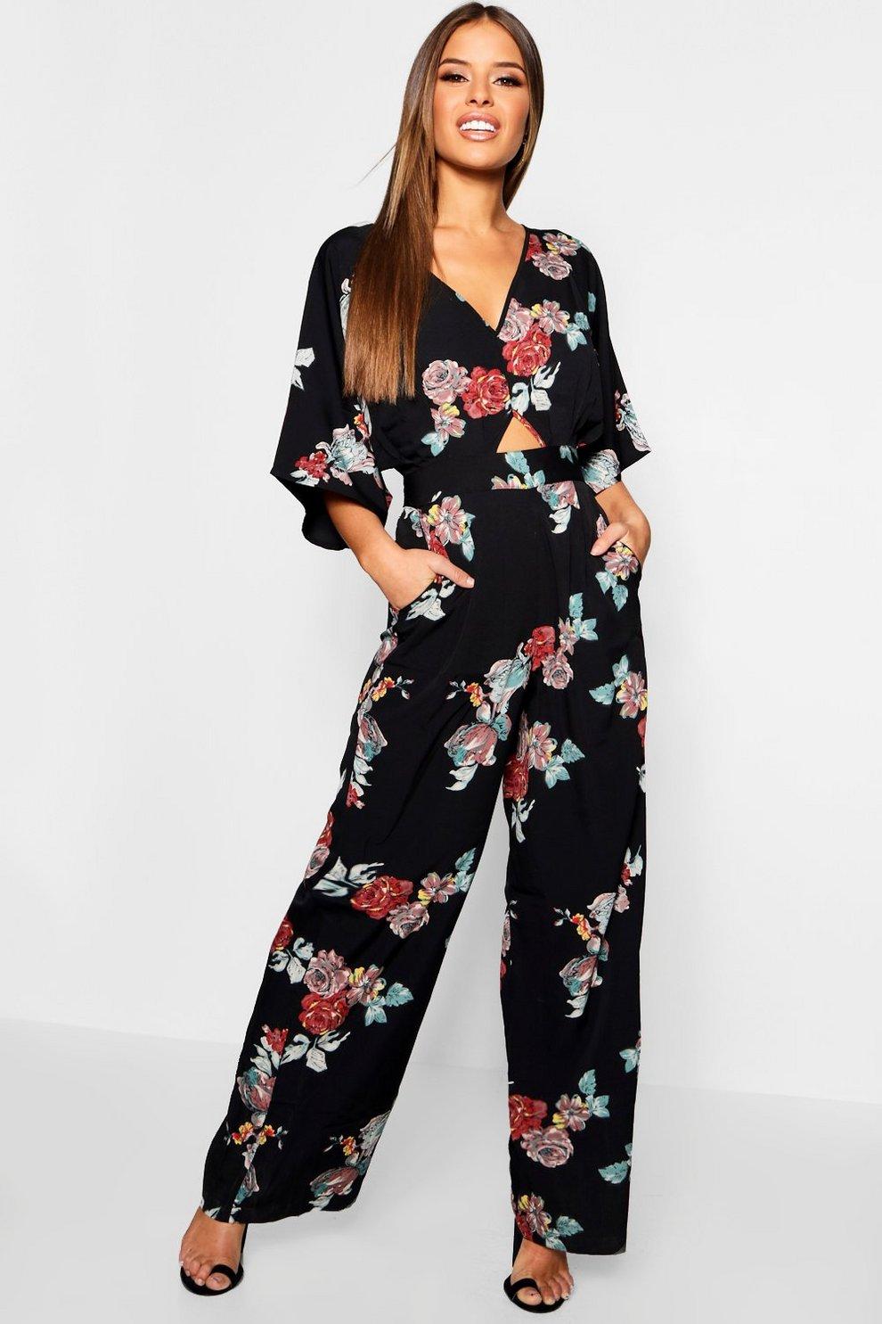 2409afe72e60 Petite Floral Kimono Sleeve Jumpsuit   Boohoo
