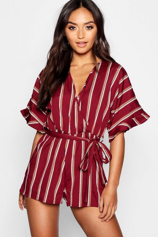 Womens Berry Petite Ruffle Wrap Playsuit