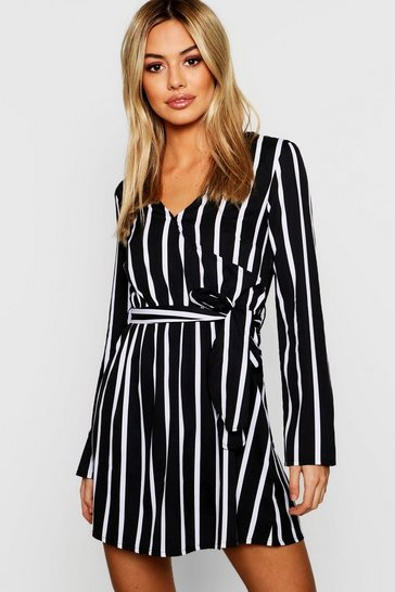 Womens Petite Black Wrap Over Stripe Shift Dress