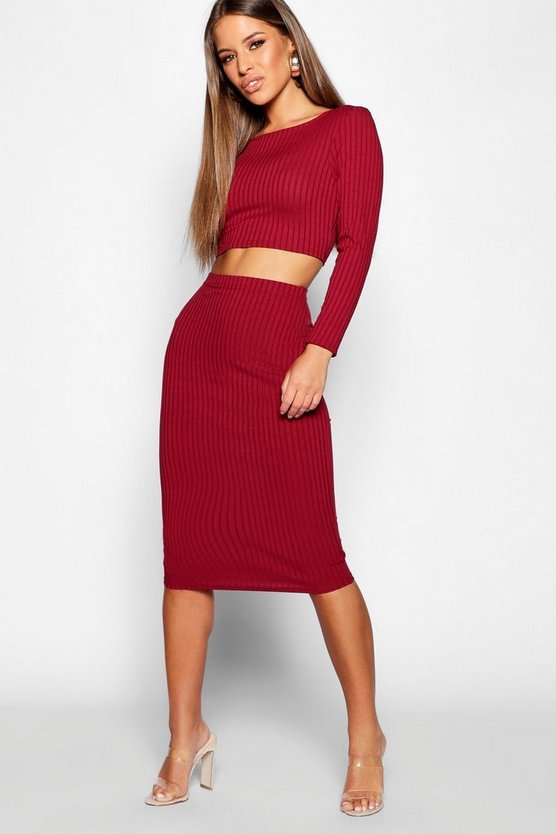 Wine Petite Rib Long Sleeve Midi Skirt Co-Ord
