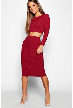 Womens Wine Petite Rib Long Sleeve Midi Skirt Co-Ord