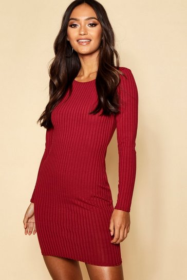 Womens Wine Petite Sleeve Rib Knit Bodycon Dress