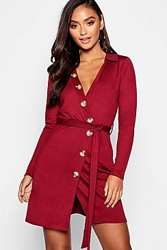 Petite Button Front Belted Shirt Dress