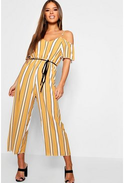Womens Mustard Petite Striped Cold Shoulder Jumpsuit