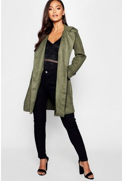 Womens Khaki Petite Suedette Waterfall Belted Coat