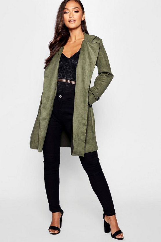 Petite Suedette Waterfall Belted Coat