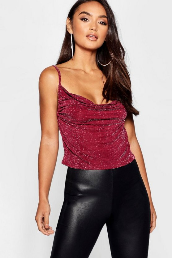 Womens Berry Petite Cowl Neck Cami Top