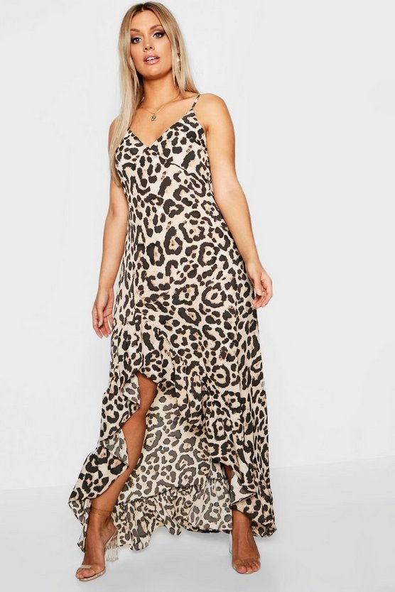 Womens Brown Plus Leopard Ruffle Hem Maxi Dress