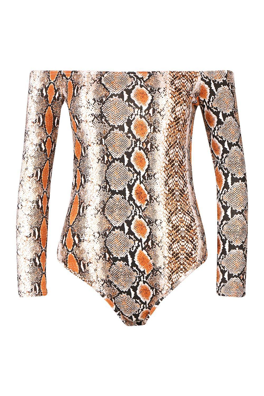 de estampado marrón estilo Body con Petite Bardot serpiente 1nIFw8